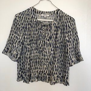 Madewell Sunpleat Lace-Up Top Painted Feathers